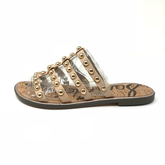 261250283 Sam Edelman Sz 8 Glenn Studded Slide Sandals Nude